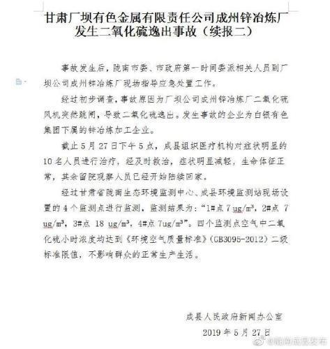 SUE煮方便面 甘肃成县通报工厂二氧化硫逸出事故 空气监测达标