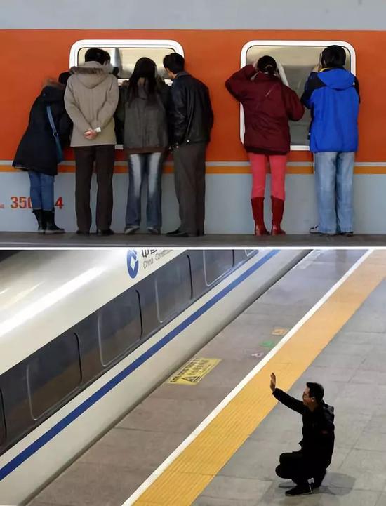 上图:2007年2月3日,北京火车站送行者和亲友隔窗告别。新华社记者李文摄 下图:2019年1月21日,石家庄火车站一名男子与家人挥手告别。新华社发(梁子栋摄)