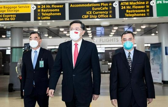 中国新任驻美大使秦刚抵达美国履新
