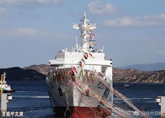 """在三井E&S造船玉野舰船工厂下水的大型巡视船""""宫古"""" 图《日本经济新闻》"""