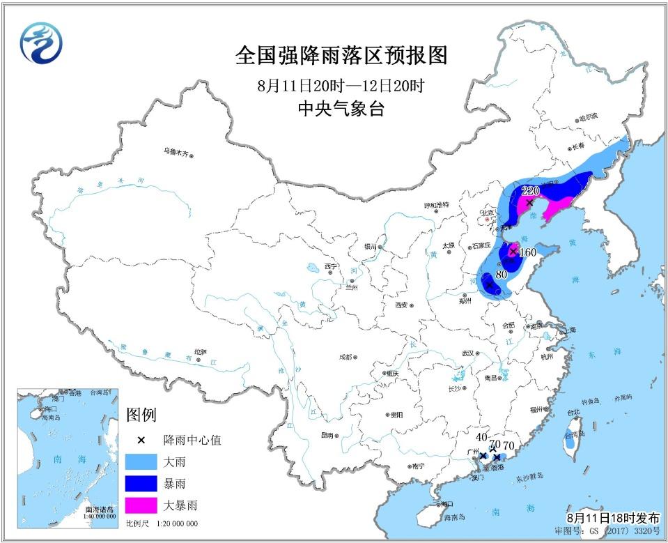 关键词 中央气象台8月11日18时继续发布暴雨黄色预警