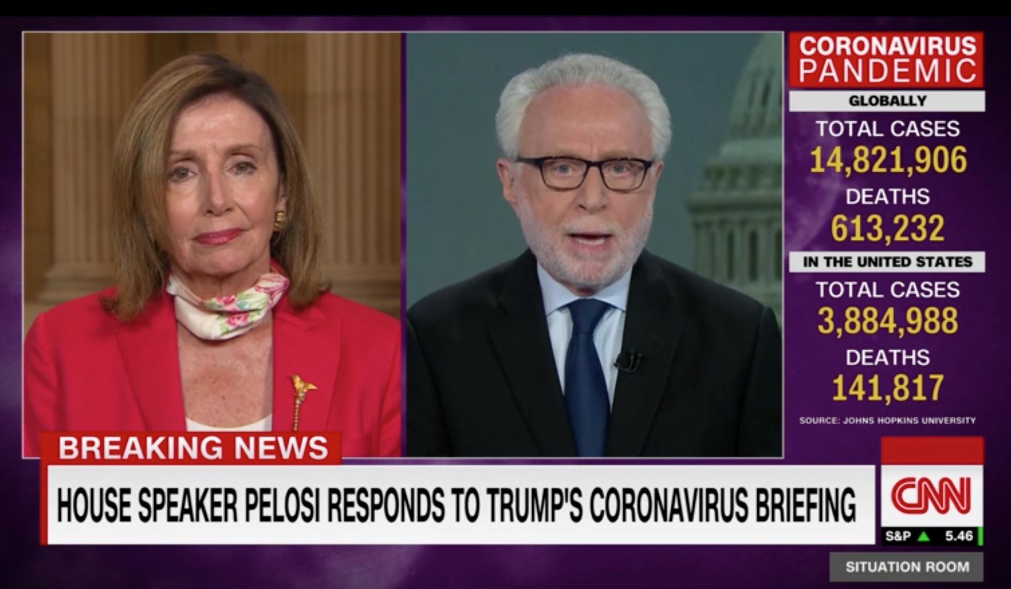 当地时间7月21日晚,佩洛西接受CNN采访。CNN视频截图