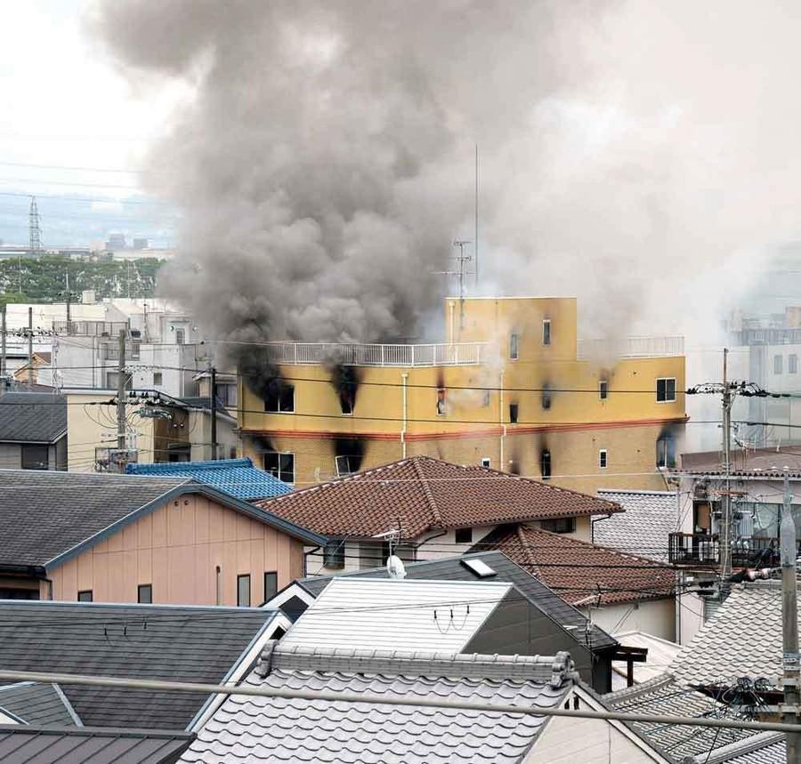 火災現場(日本《京都新聞》)