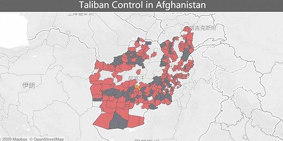 2019年6月,深灰色为塔利班控制区,粉红色为争夺区,浅灰色为政府控制区。图片来源:《长期战争》杂志