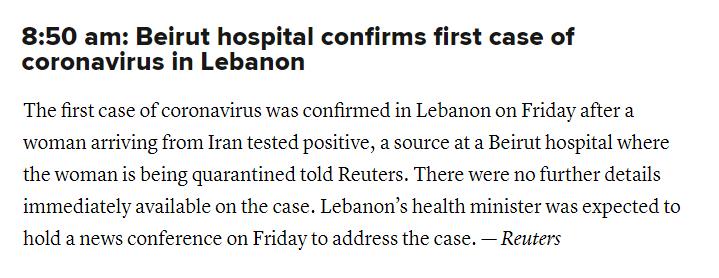 又有两个中东国家出现确诊病例