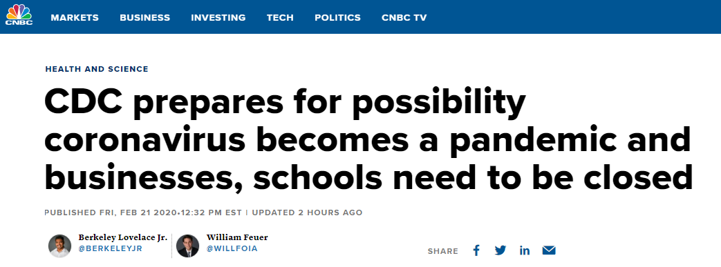 美国疾控中心:有可能出现学中国停工停学的一天