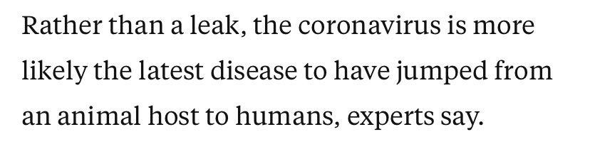 △专家指出,冠状肺炎疫情的暴发不是因为泄漏,更可能是因为新冠肺炎是一种从动物宿主传播到人类的最新疾病。
