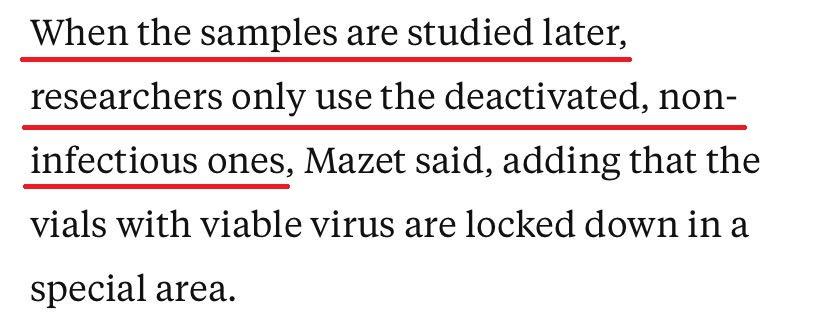 △马泽特说,在对样本进行研究时,研究人员仅使用灭活的、不具有传染性的样本。