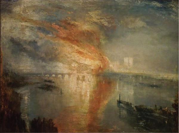 《議會大廈的大火》(遠景),威廉·透納,1834-1835年,克利夫蘭藝術博物館藏