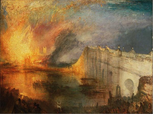 《議會大廈的大火》(近景) ,威廉·透納 ,1834-1835年,費城美術館藏