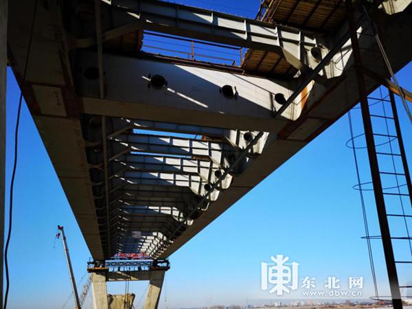 黑龙江大桥俄方工程施工现场。