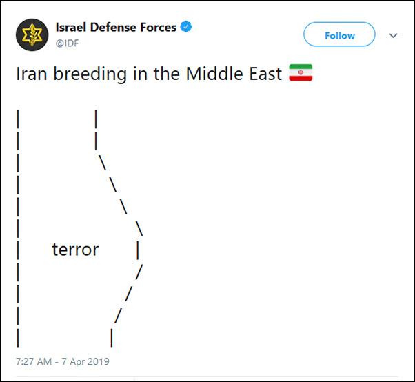 """以色列国防军发推暗示""""伊朗孕育恐怖分子""""(图)"""