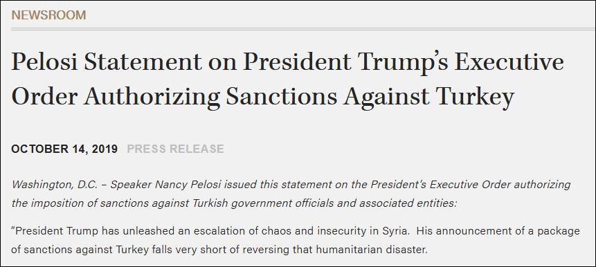特朗普剛制裁土耳其 老對手佩洛西就發聲了