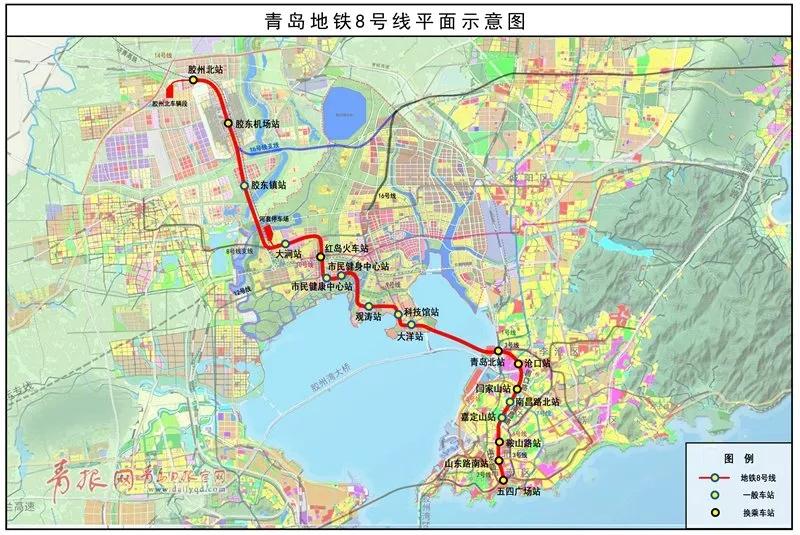地铁8号线平面示意图。