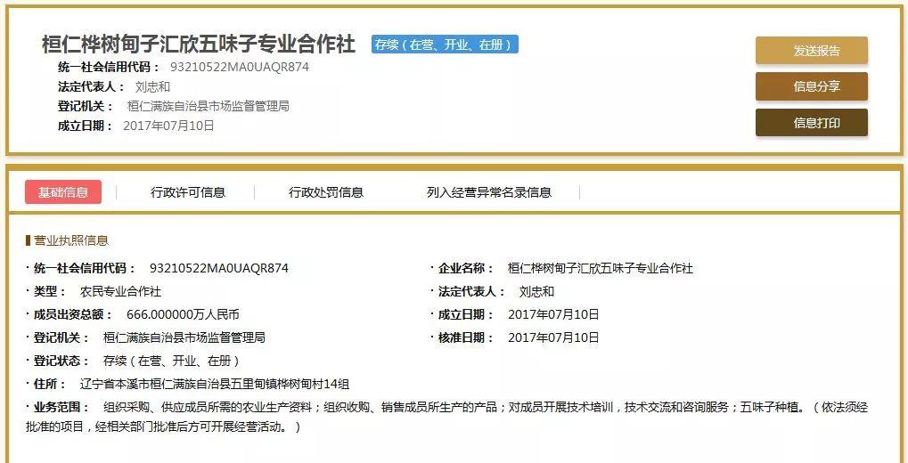 桓仁桦树甸子村五味子专业合作社的注册信息,其中法定代表人显示为刘忠和