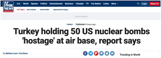 """怕成土耳其""""人質"""" 美國計劃從土撤走50枚核炸彈"""